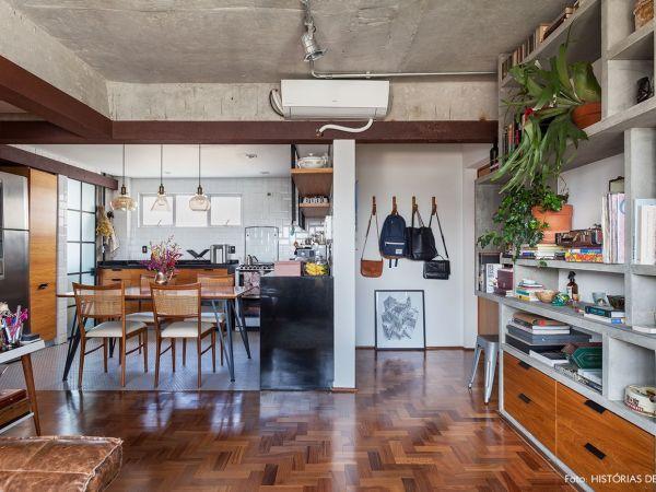 L005 - Apartamento detalhe concreto - 01 decoracao apartamento com cozinha integrada concreto