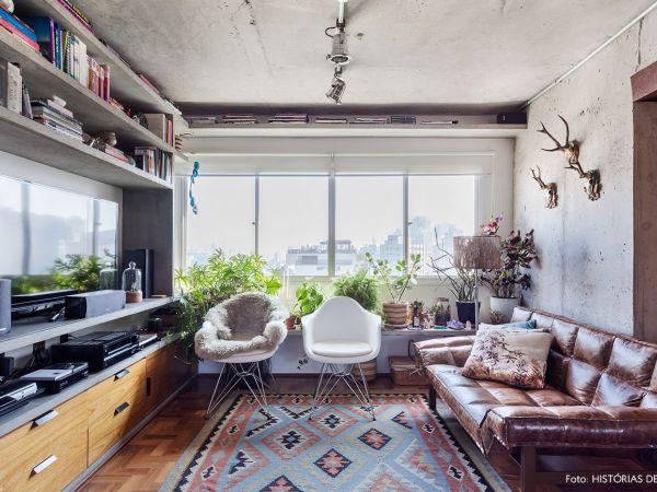 L005 - Apartamento detalhe concreto - 02 decoracao apartamento sofa de couro teto concreto